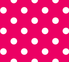 Pink and White Polka Dot Pattern Sticker