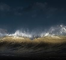 Breaking wave with spray by Leighton Collins
