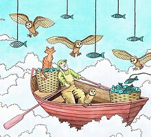 Fish Farmer with owls and a pussycat by Vicky Pratt