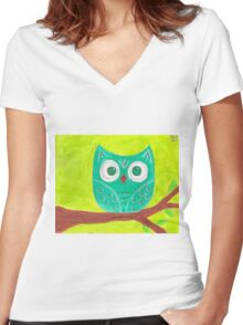 Teal Owl Women's Fitted V-Neck T-Shirt
