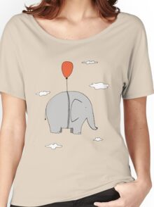 Elephant with a red balloon Women's Relaxed Fit T-Shirt
