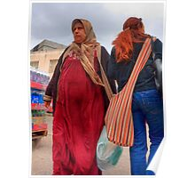 Crossing Paths. A Muslim and Jewish women at the Nazareth  open market, Israel Poster