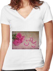 Shattered  Women's Fitted V-Neck T-Shirt