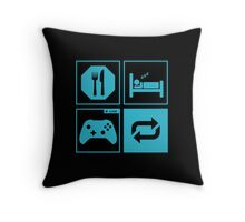 Eat, Sleep, Game, Repeat. Throw Pillow