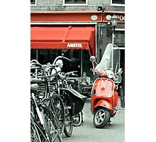 Red Moped Photographic Print
