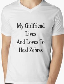 My Girlfriend Lives And Loves To Heal Zebras  Mens V-Neck T-Shirt