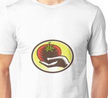Hand Holding Tomato Circle Woodcut Unisex T-Shirt