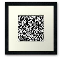 White & Black Floral Baroque Pattern Framed Print