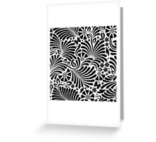 White & Black Floral Baroque Pattern Greeting Card