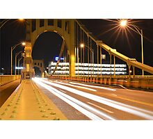 Pittsburgh Night Time Traffic on Warhol Bridge Photographic Print