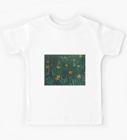 Yellow Flowers  Green Grass Kids Tee