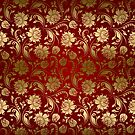 Burgundy And Gold Floral Damasks by artonwear
