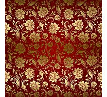 Burgundy And Gold Floral Damasks Photographic Print