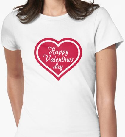 Happy Valentine's day red heart Womens Fitted T-Shirt