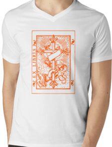 Cross Banner & Fleur De Lys Mens V-Neck T-Shirt