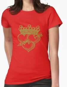 Three Hearts Crown &  Dagger Womens Fitted T-Shirt