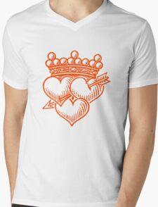 Three Hearts Crown &  Dagger Mens V-Neck T-Shirt