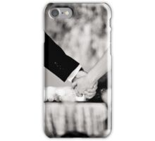 Wedding couple bride groom holding hands back and white photo iPhone Case/Skin