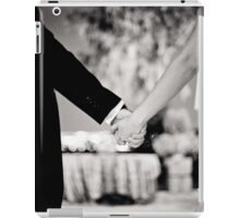 Wedding couple bride groom holding hands back and white photo iPad Case/Skin
