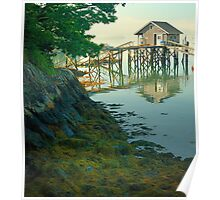 Fisherman's shack and vegetation, Coast of Maine Poster