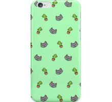 Cats n' Cacti (Green) iPhone Case/Skin