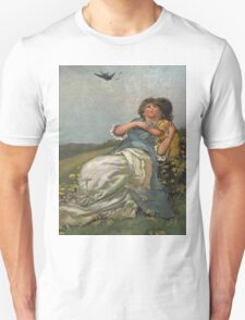 Mother And Child Vintage Art-Available As Art Prints-Mugs,Cases,Duvets,T Shirts,Stickers,etc Unisex T-Shirt