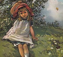 Little Girl At Play-Available As Art Prints-Mugs,Cases,Duvets,T Shirts,Stickers,etc by Robert Burns