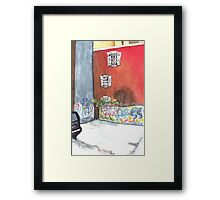 stained red wall Framed Print