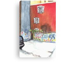 stained red wall Canvas Print
