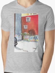 stained red wall Mens V-Neck T-Shirt