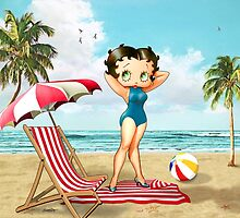 Betty Boop Pinup Girl at the Beach by Everett Day