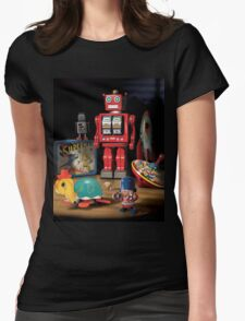 Vintage Robot & Friends Womens Fitted T-Shirt