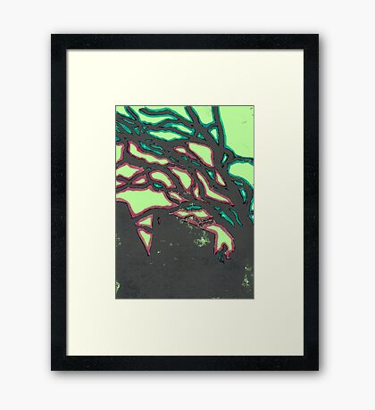 tree silhouettes (red and green glaze) Framed Print