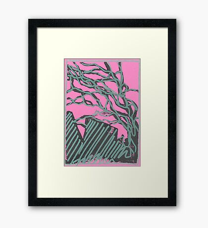 tree silhouettes (metallic green) Framed Print