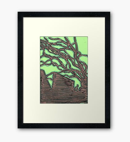 tree silhouettes (gold) Framed Print