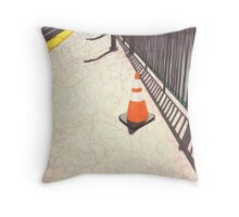 orange traffic cone Throw Pillow