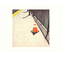 orange traffic cone Art Print