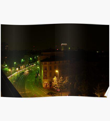 Frankfurt Night Streetscape 1 Poster