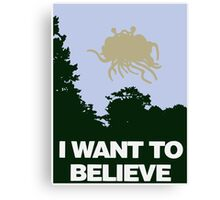 I Want to Believe in the Flying Spaghetti Monster Canvas Print