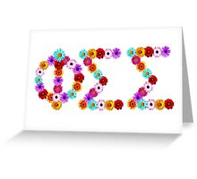 Phi Sigma Sigma Flower Letters Greeting Card