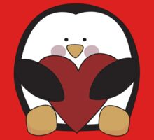 Valentine's Penguin holding heart Kids Clothes