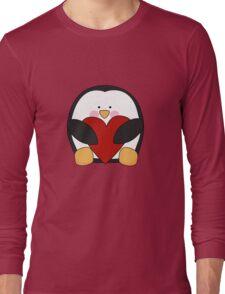 Valentine's Penguin holding heart Long Sleeve T-Shirt