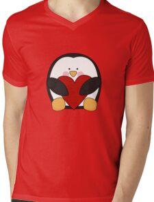 Valentine's Penguin holding heart Mens V-Neck T-Shirt