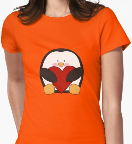 Valentine's Penguin holding heart Womens Fitted T-Shirt