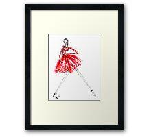 Flirty Red Dress Framed Print