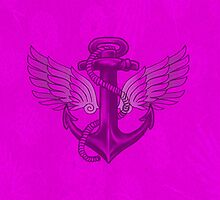 Wings and Anchor- Pink by KylieZie