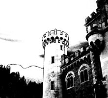 Outlined Castle in Black and White by blueclover