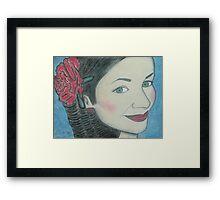 Pastel Portrait Drawing Framed Print