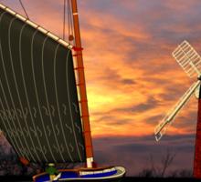 Norfolk Wherry and Windmill, Norfolk Broads Sticker