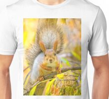 Red euroasian squirrel on the maple branch Unisex T-Shirt